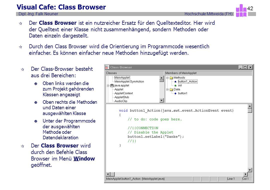 Hochschule Mittweida (FH)Dipl.-Ing. Falk Neuner 42 Visual Cafe: Class Browser ¶ Der Class Browser ist ein nutzreicher Ersatz für den Quelltexteditor.