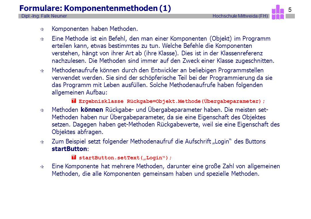 Hochschule Mittweida (FH)Dipl.-Ing. Falk Neuner 5 Formulare: Komponentenmethoden (1) ¶ Komponenten haben Methoden. ¶ Eine Methode ist ein Befehl, den