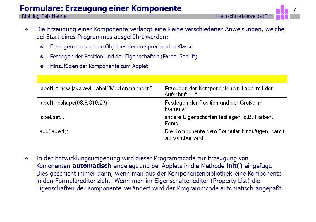 Hochschule Mittweida (FH)Dipl.-Ing. Falk Neuner 7 Formulare: Erzeugung einer Komponente ¶ Die Erzeugung einer Komponente verlangt eine Reihe verschied