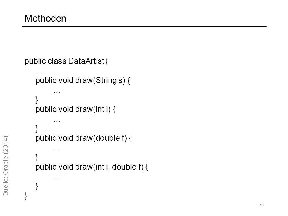 Methoden public class DataArtist {... public void draw(String s) {...
