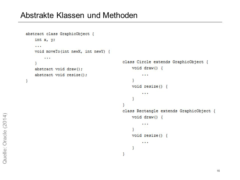 Abstrakte Klassen und Methoden 16 Quelle: Oracle (2014)