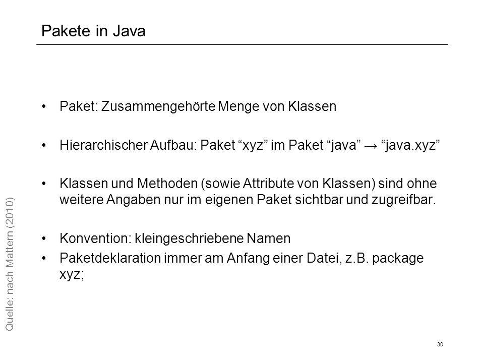 Pakete in Java Paket: Zusammengehörte Menge von Klassen Hierarchischer Aufbau: Paket xyz im Paket java → java.xyz Klassen und Methoden (sowie Attribute von Klassen) sind ohne weitere Angaben nur im eigenen Paket sichtbar und zugreifbar.