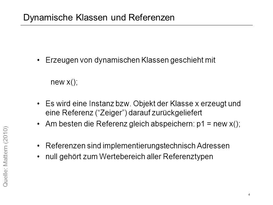 Dynamische Klassen und Referenzen Erzeugen von dynamischen Klassen geschieht mit new x(); Es wird eine Instanz bzw.