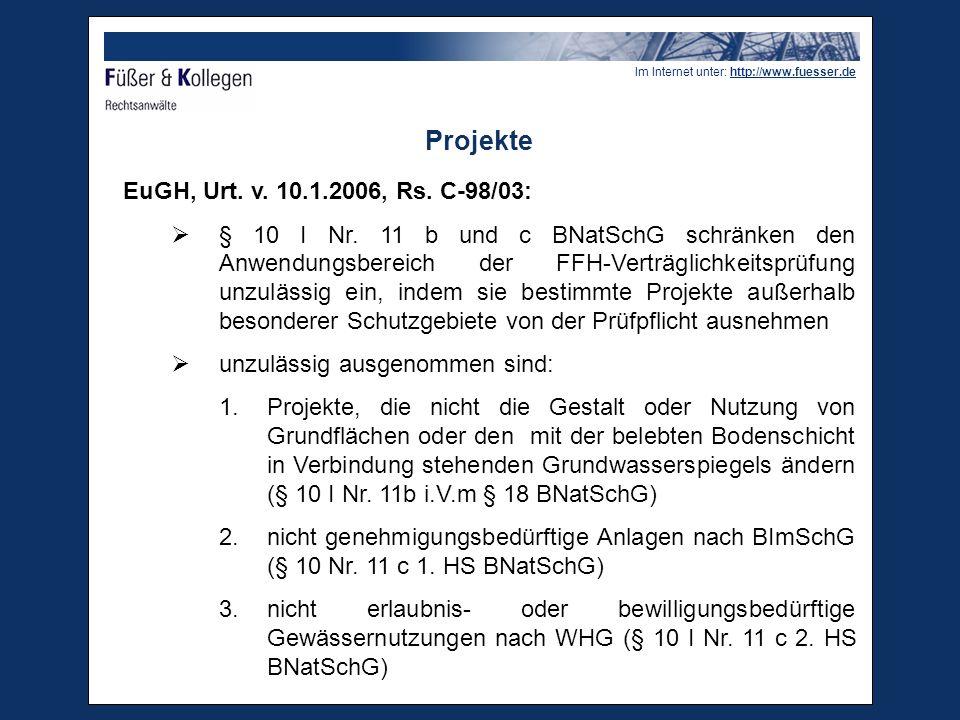Im Internet unter: http://www.fuesser.de Erhebliche Beeinträchtigungen  Bei der Auslegung des Art.