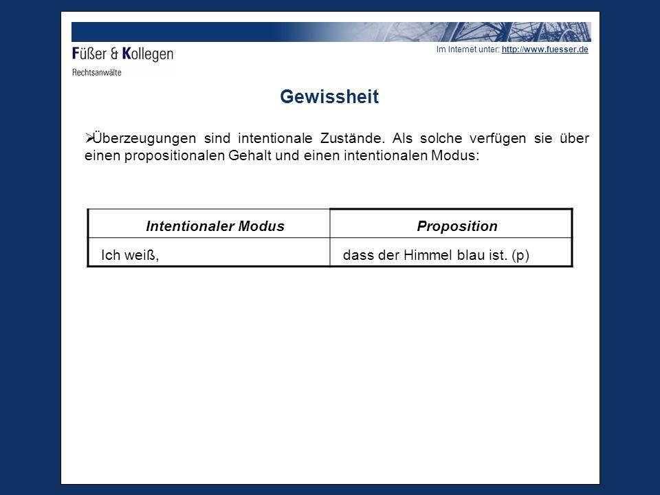 Im Internet unter: http://www.fuesser.de Gewissheit  Der intentionale Modus kennzeichnet eine spezifische Einstellung des Subjekts zum propositionalen Gehalt.