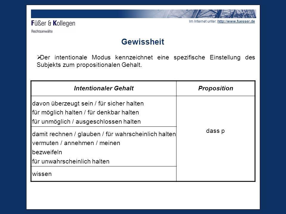 Im Internet unter: http://www.fuesser.de Gewissheit Maßstab für den Beweis:  grundsätzliche Fallibilität des Menschen; objektive Gewissheit bzw.