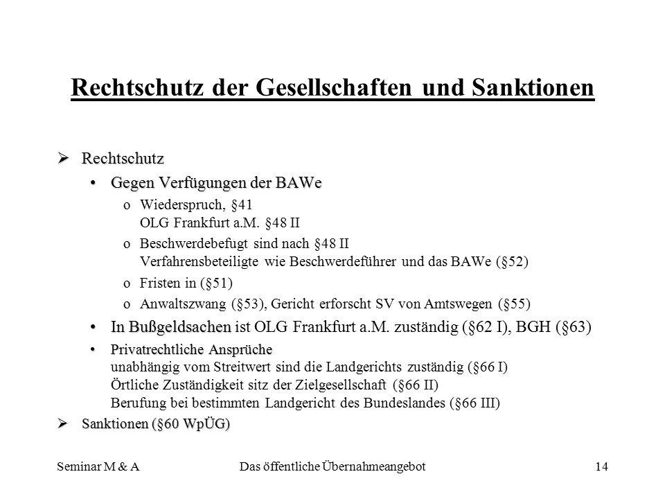 Seminar M & ADas öffentliche Übernahmeangebot13 Verhaltenspflichten der Organe der Zielgesellschaft  Stellungnahmepflicht, §27 WpÜG  Stellungnahmepf