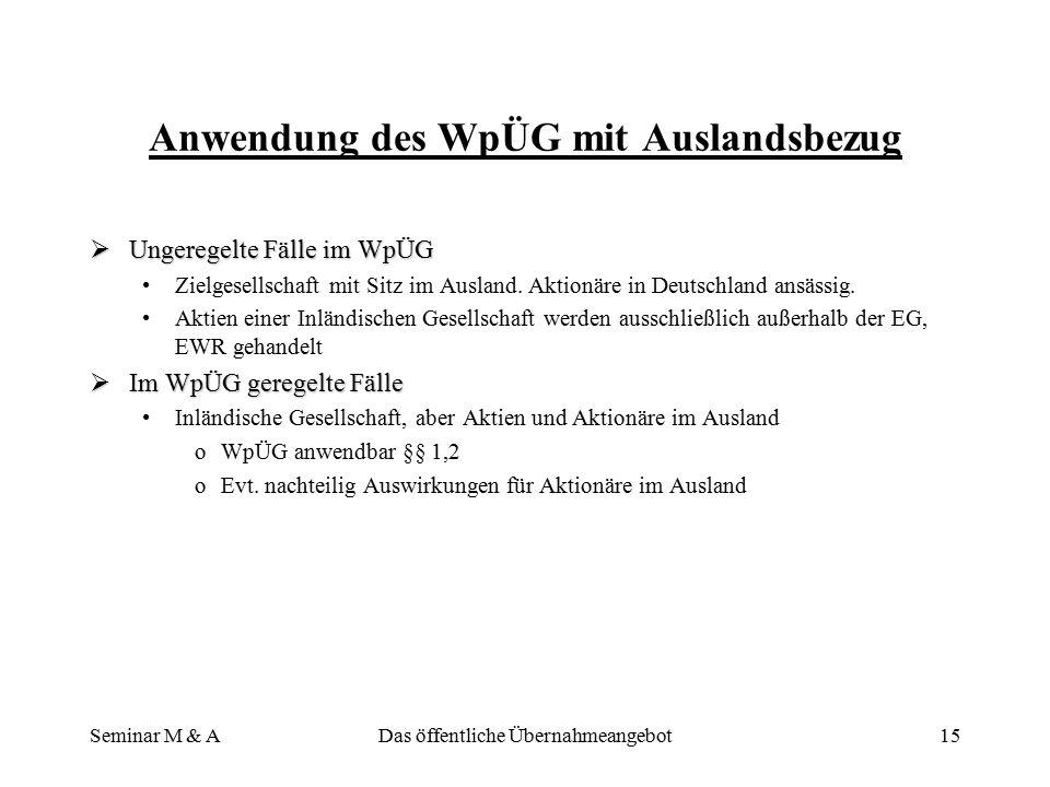 Seminar M & ADas öffentliche Übernahmeangebot14 Rechtschutz der Gesellschaften und Sanktionen  Rechtschutz Gegen Verfügungen der BAWeGegen Verfügunge