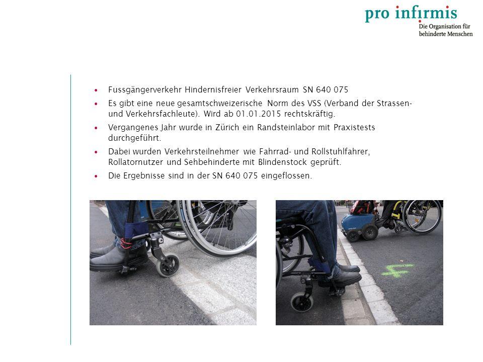Fussgängerverkehr Hindernisfreier Verkehrsraum SN 640 075 Es gibt eine neue gesamtschweizerische Norm des VSS (Verband der Strassen- und Verkehrsfachleute).