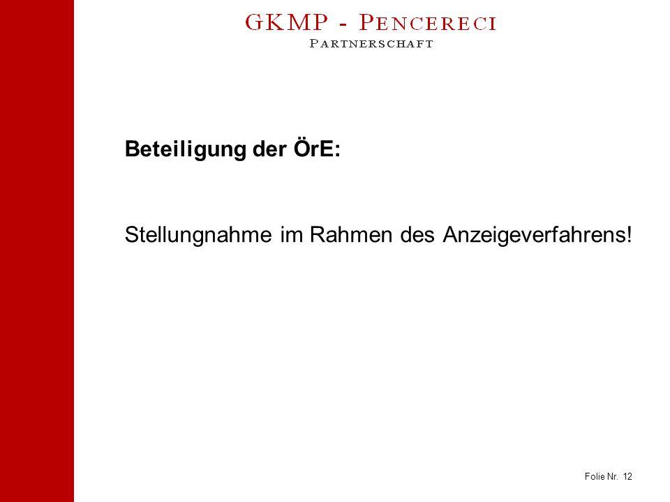 Folie Nr. 12 Beteiligung der ÖrE: Stellungnahme im Rahmen des Anzeigeverfahrens!