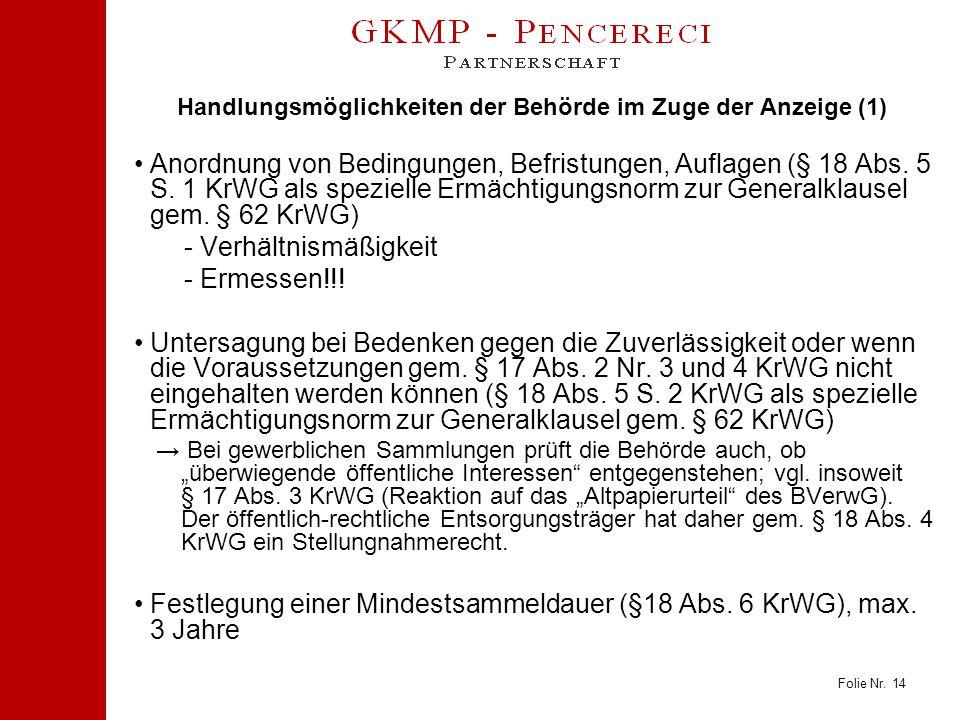 Folie Nr. 14 Handlungsmöglichkeiten der Behörde im Zuge der Anzeige (1) Anordnung von Bedingungen, Befristungen, Auflagen (§ 18 Abs. 5 S. 1 KrWG als s