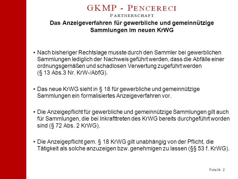 Folie Nr. 2 Das Anzeigeverfahren für gewerbliche und gemeinnützige Sammlungen im neuen KrWG Nach bisheriger Rechtslage musste durch den Sammler bei ge