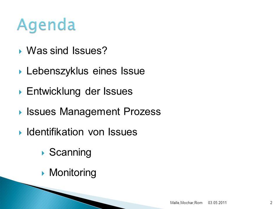  Was sind Issues?  Lebenszyklus eines Issue  Entwicklung der Issues  Issues Management Prozess  Identifikation von Issues  Scanning  Monitoring
