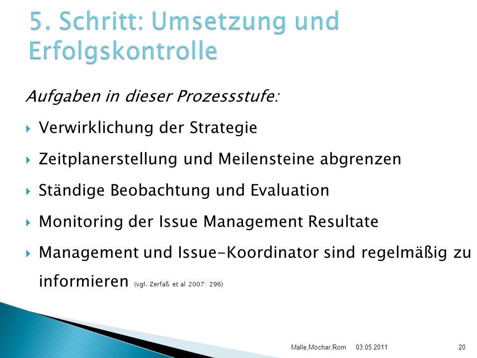 03.05.2011Malle,Mochar,Rom20 Aufgaben in dieser Prozessstufe:  Verwirklichung der Strategie  Zeitplanerstellung und Meilensteine abgrenzen  Ständig