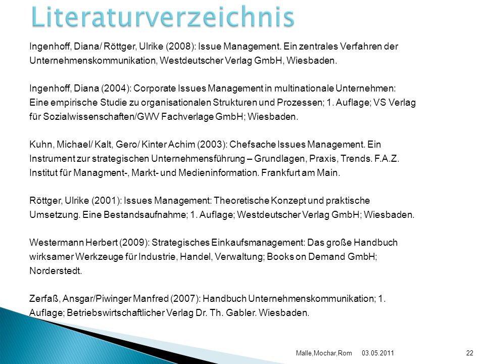 Ingenhoff, Diana/ Röttger, Ulrike (2008): Issue Management. Ein zentrales Verfahren der Unternehmenskommunikation, Westdeutscher Verlag GmbH, Wiesbade