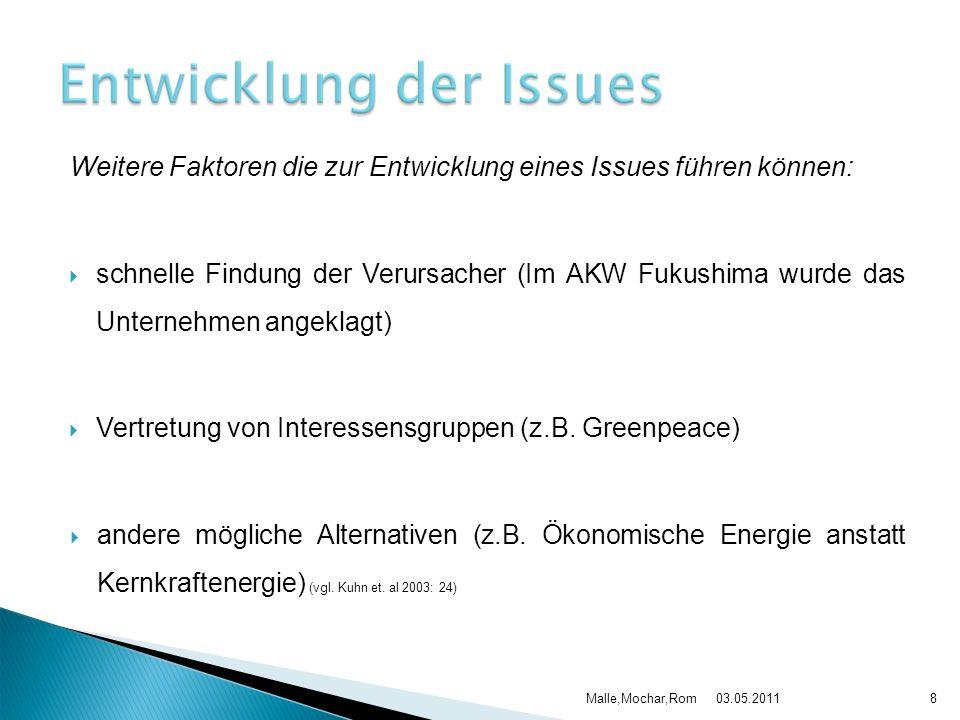 03.05.2011Malle,Mochar,Rom8 Weitere Faktoren die zur Entwicklung eines Issues führen können:  schnelle Findung der Verursacher (Im AKW Fukushima wurd