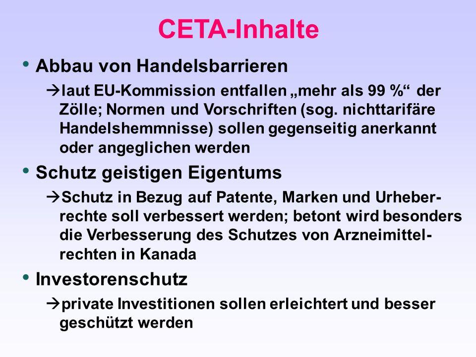 """CETA-Inhalte Abbau von Handelsbarrieren  laut EU-Kommission entfallen """"mehr als 99 %"""" der Zölle; Normen und Vorschriften (sog. nichttarifäre Handelsh"""