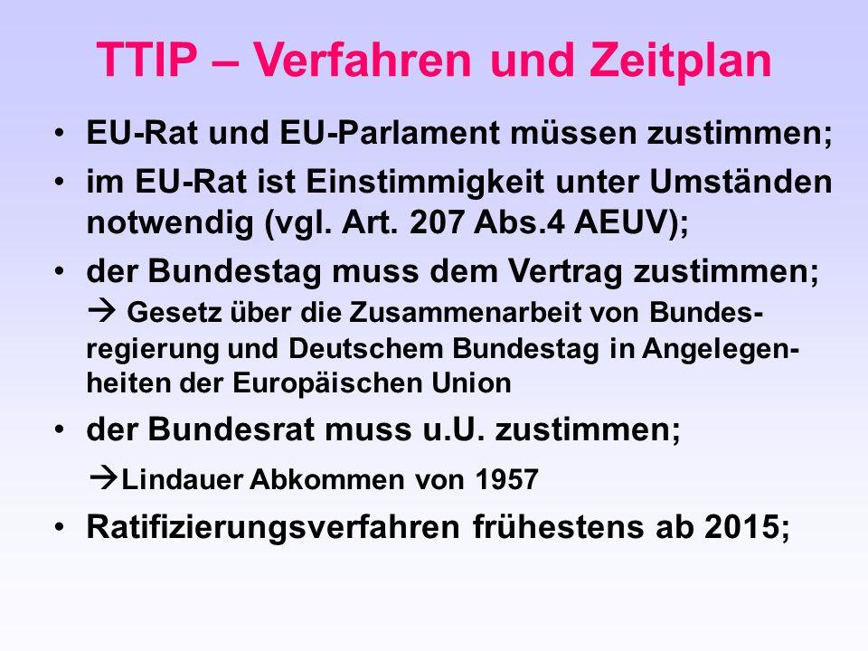EU-Rat und EU-Parlament müssen zustimmen; im EU-Rat ist Einstimmigkeit unter Umständen notwendig (vgl. Art. 207 Abs.4 AEUV); der Bundestag muss dem Ve