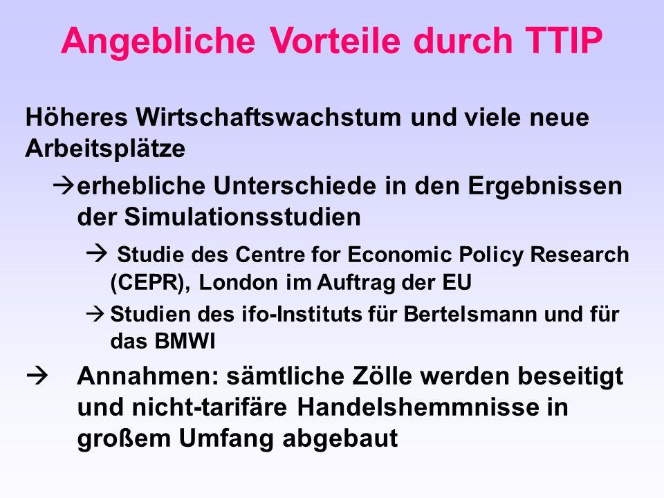 Angebliche Vorteile durch TTIP Höheres Wirtschaftswachstum und viele neue Arbeitsplätze  erhebliche Unterschiede in den Ergebnissen der Simulationsst