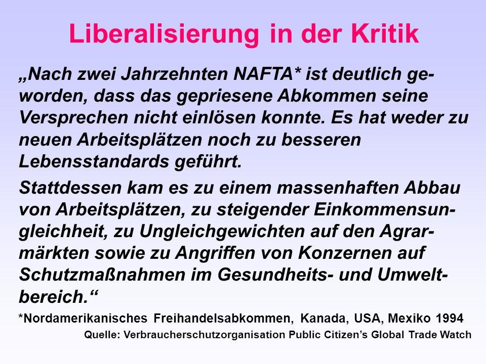 """Liberalisierung in der Kritik """"Nach zwei Jahrzehnten NAFTA* ist deutlich ge- worden, dass das gepriesene Abkommen seine Versprechen nicht einlösen kon"""
