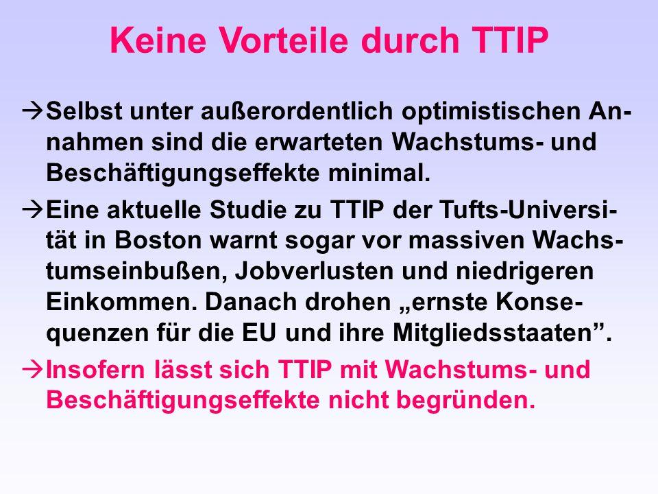 Keine Vorteile durch TTIP  Selbst unter außerordentlich optimistischen An- nahmen sind die erwarteten Wachstums- und Beschäftigungseffekte minimal. 