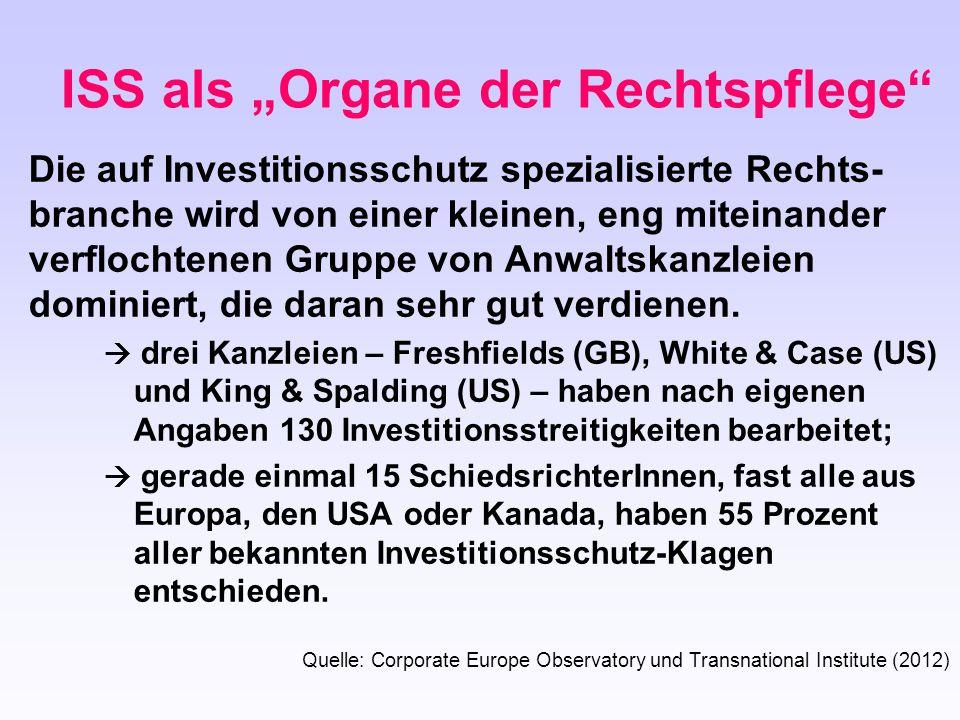 Die auf Investitionsschutz spezialisierte Rechts- branche wird von einer kleinen, eng miteinander verflochtenen Gruppe von Anwaltskanzleien dominiert,