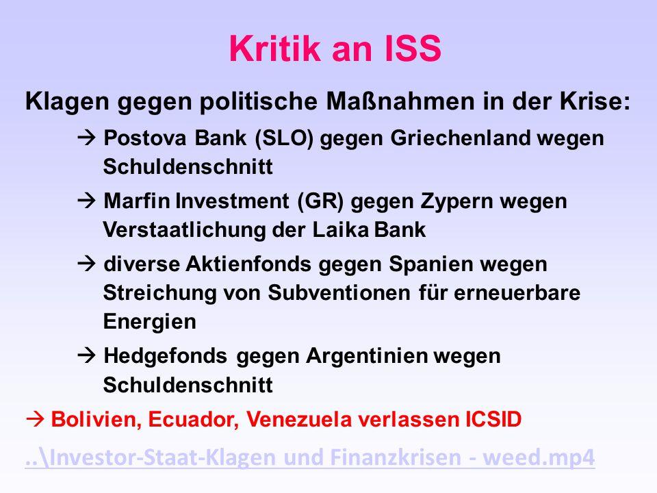 Klagen gegen politische Maßnahmen in der Krise:  Postova Bank (SLO) gegen Griechenland wegen Schuldenschnitt  Marfin Investment (GR) gegen Zypern we