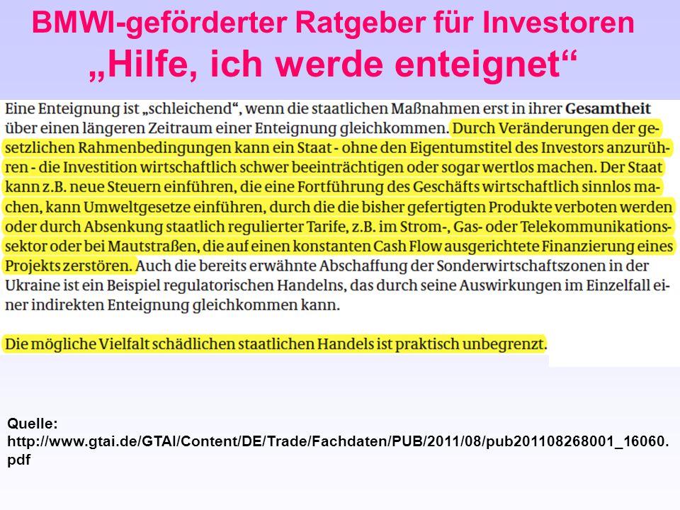 """BMWI-geförderter Ratgeber für Investoren """"Hilfe, ich werde enteignet"""" Quelle: http://www.gtai.de/GTAI/Content/DE/Trade/Fachdaten/PUB/2011/08/pub201108"""