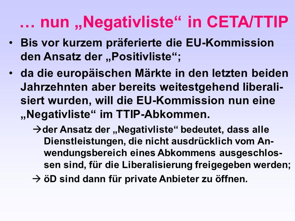 """Bis vor kurzem präferierte die EU-Kommission den Ansatz der """"Positivliste""""; da die europäischen Märkte in den letzten beiden Jahrzehnten aber bereits"""