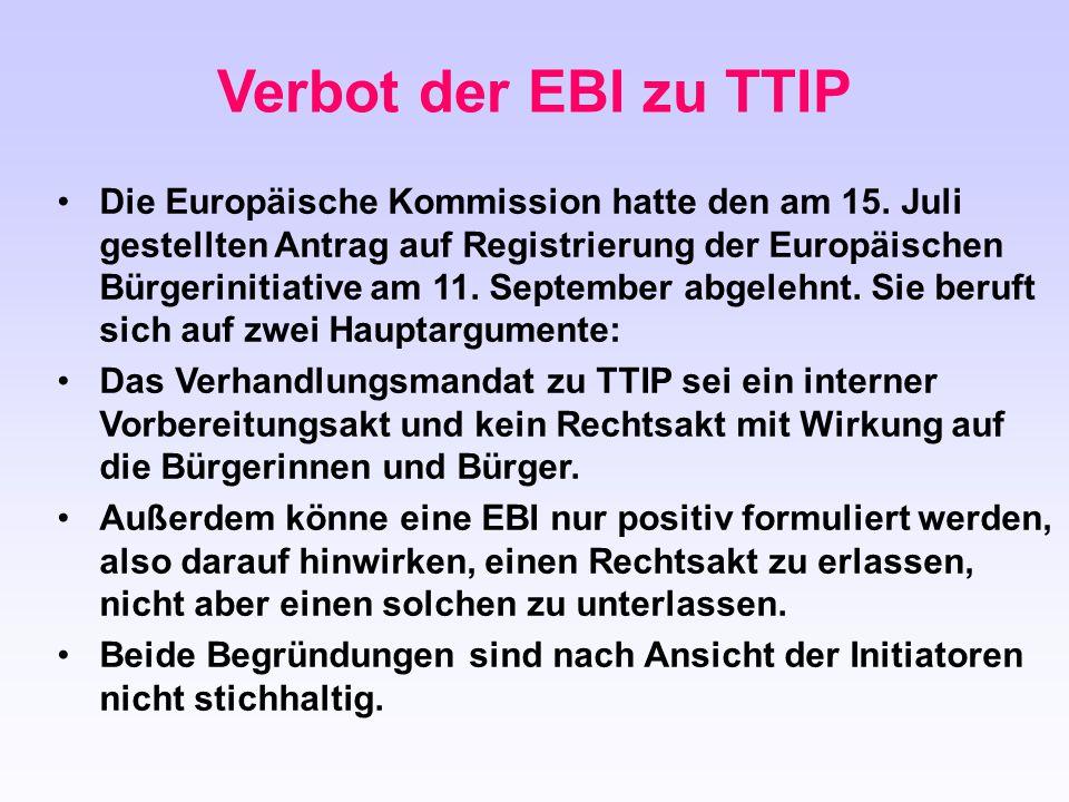 Die Europäische Kommission hatte den am 15. Juli gestellten Antrag auf Registrierung der Europäischen Bürgerinitiative am 11. September abgelehnt. Sie