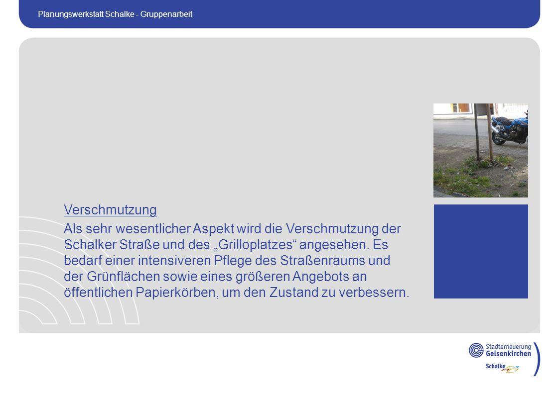 """Verschmutzung Als sehr wesentlicher Aspekt wird die Verschmutzung der Schalker Straße und des """"Grilloplatzes angesehen."""