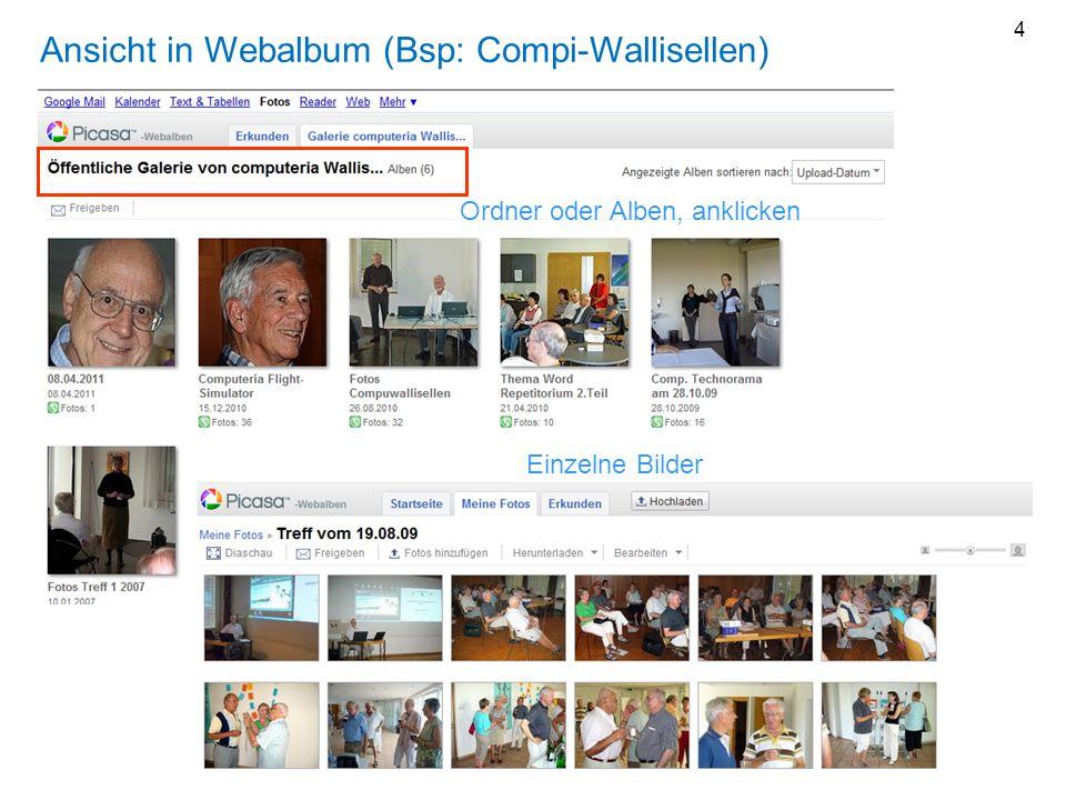 Einzelne Bilder Ansicht in Webalbum (Bsp: Compi-Wallisellen) Ordner oder Alben, anklicken 4