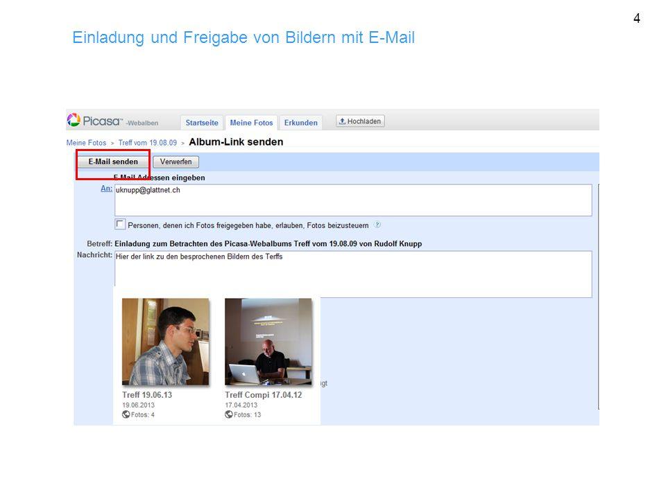 Einladung und Freigabe von Bildern mit E-Mail 4