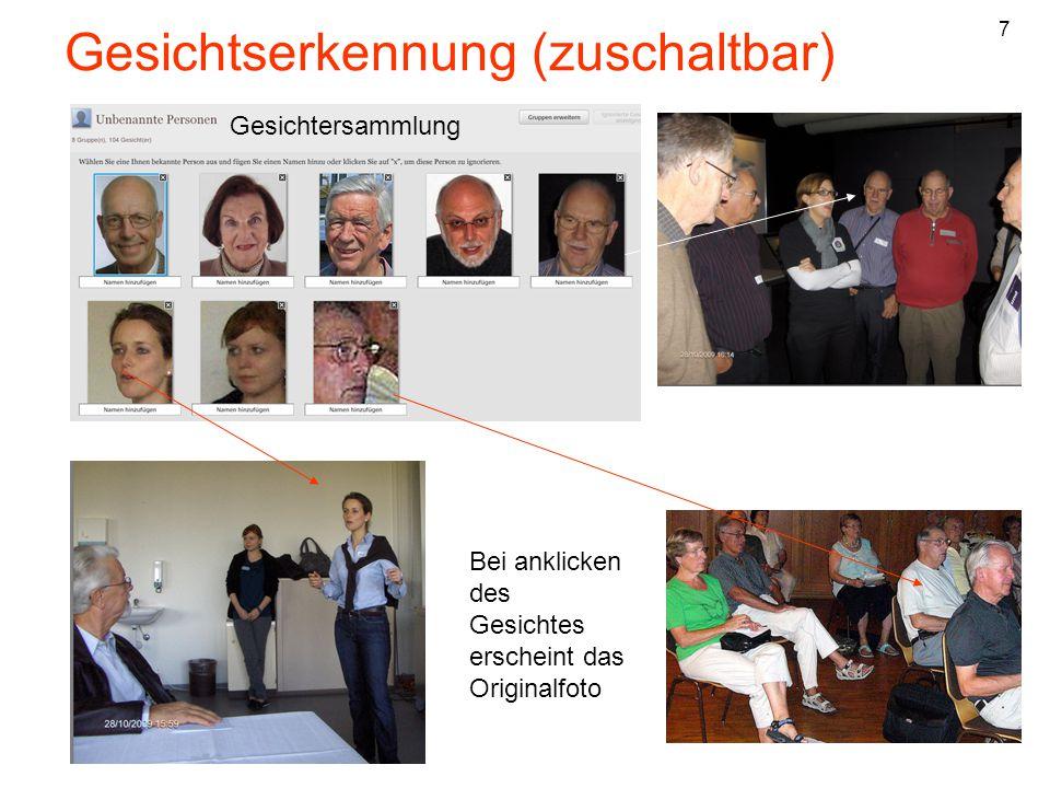 Gesichtserkennung (zuschaltbar) Bei anklicken des Gesichtes erscheint das Originalfoto Gesichtersammlung 7