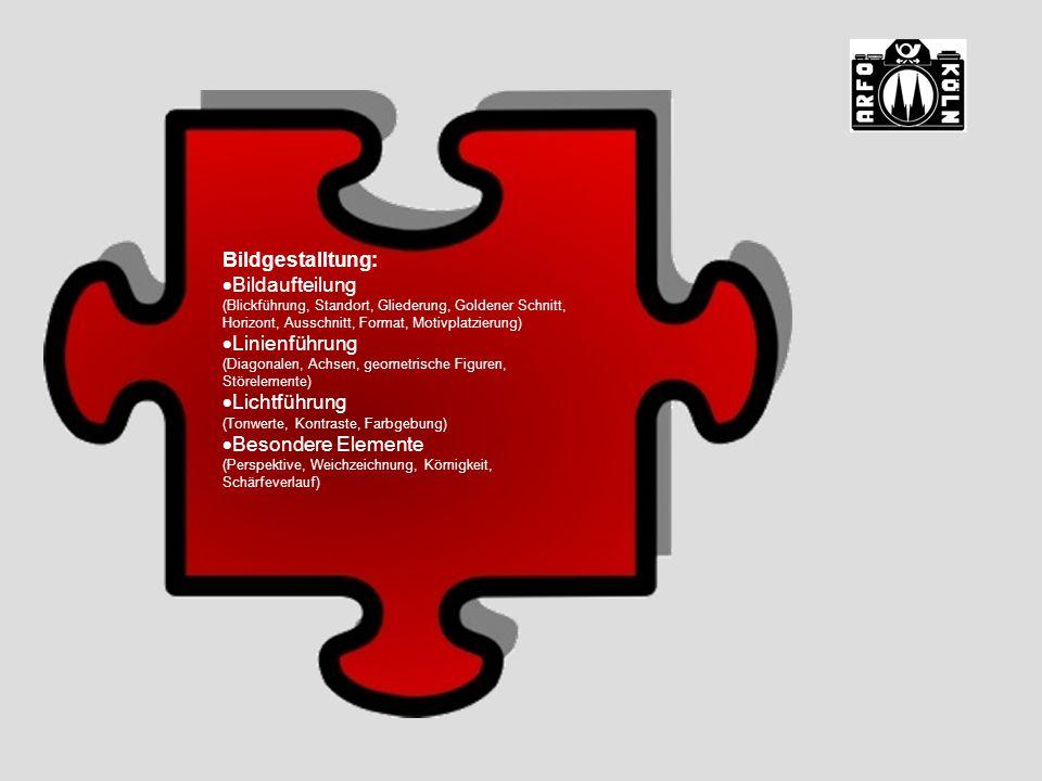 Bildgestalltung:  Bildaufteilung (Blickführung, Standort, Gliederung, Goldener Schnitt, Horizont, Ausschnitt, Format, Motivplatzierung)  Linienführung (Diagonalen, Achsen, geometrische Figuren, Störelemente)  Lichtführung (Tonwerte, Kontraste, Farbgebung)  Besondere Elemente (Perspektive, Weichzeichnung, Körnigkeit, Schärfeverlauf)