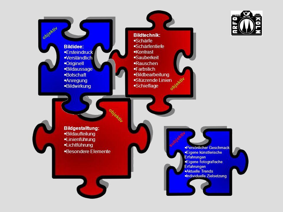 Bildgestalltung:  Bildaufteilung  Linienführung  Lichtführung  Besondere Elemente Bildtechnik:  Schärfe  Schärfentiefe  Kontrast  Sauberkeit 