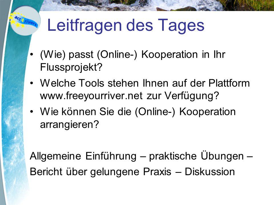 Leitfragen des Tages (Wie) passt (Online-) Kooperation in Ihr Flussprojekt.