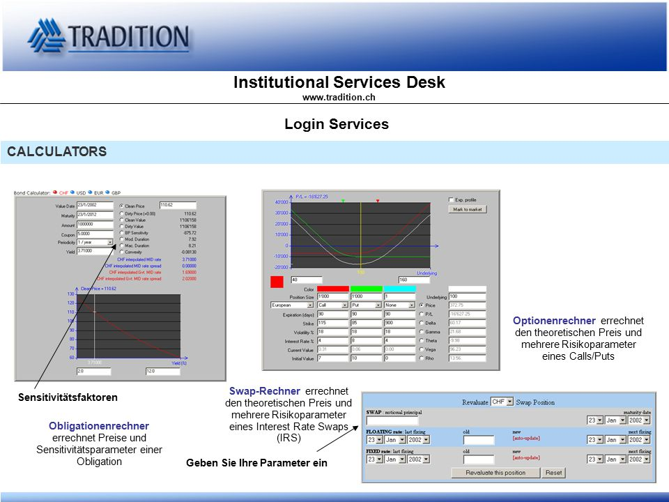 Institutional Services Desk www.tradition.ch Login Services CALCULATORS Obligationenrechner errechnet Preise und Sensitivitätsparameter einer Obligati