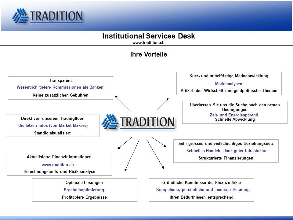 Institutional Services Desk www.tradition.ch Privatplazierungen DIE ALTERNATIVE ZUR OBLIGATION