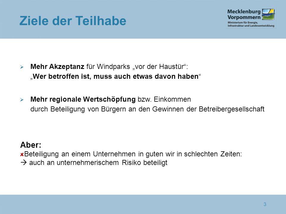 """3 Ziele der Teilhabe  Mehr Akzeptanz für Windparks """"vor der Haustür : """"Wer betroffen ist, muss auch etwas davon haben  Mehr regionale Wertschöpfung bzw."""