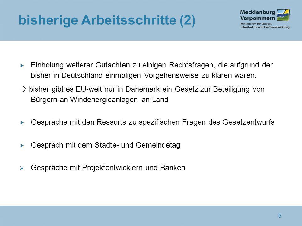 bisherige Arbeitsschritte (2)  Einholung weiterer Gutachten zu einigen Rechtsfragen, die aufgrund der bisher in Deutschland einmaligen Vorgehensweise zu klären waren.