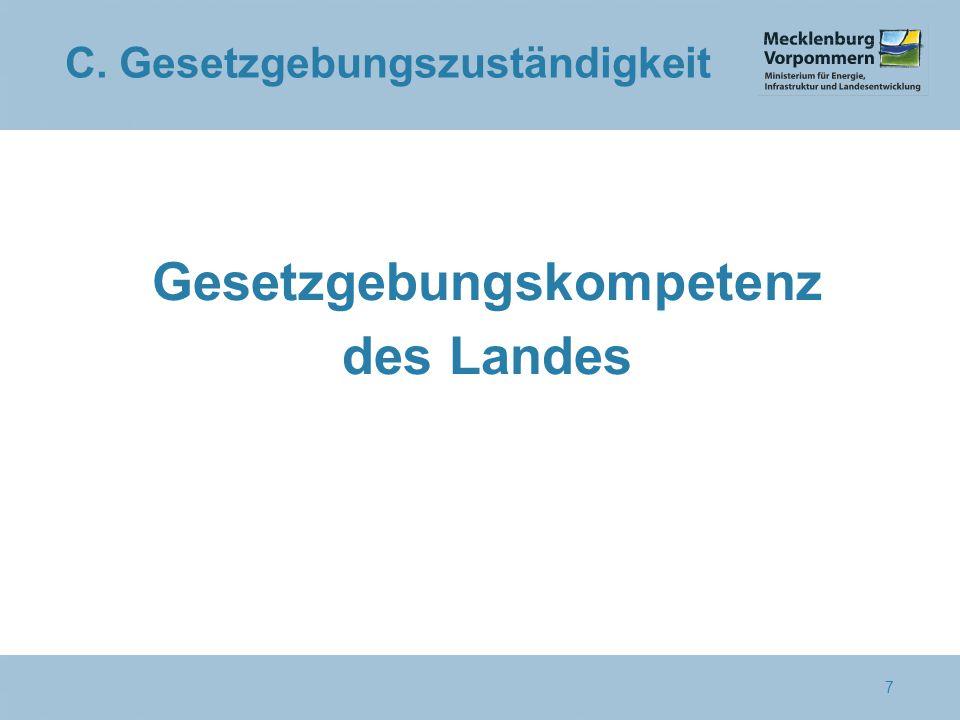 C. Gesetzgebungszuständigkeit Gesetzgebungskompetenz des Landes 7