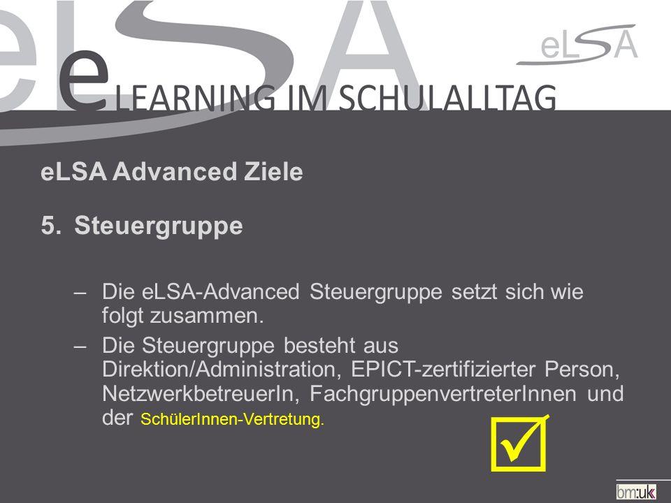 eLSA Advanced Ziele 5.Steuergruppe –Die eLSA-Advanced Steuergruppe setzt sich wie folgt zusammen.