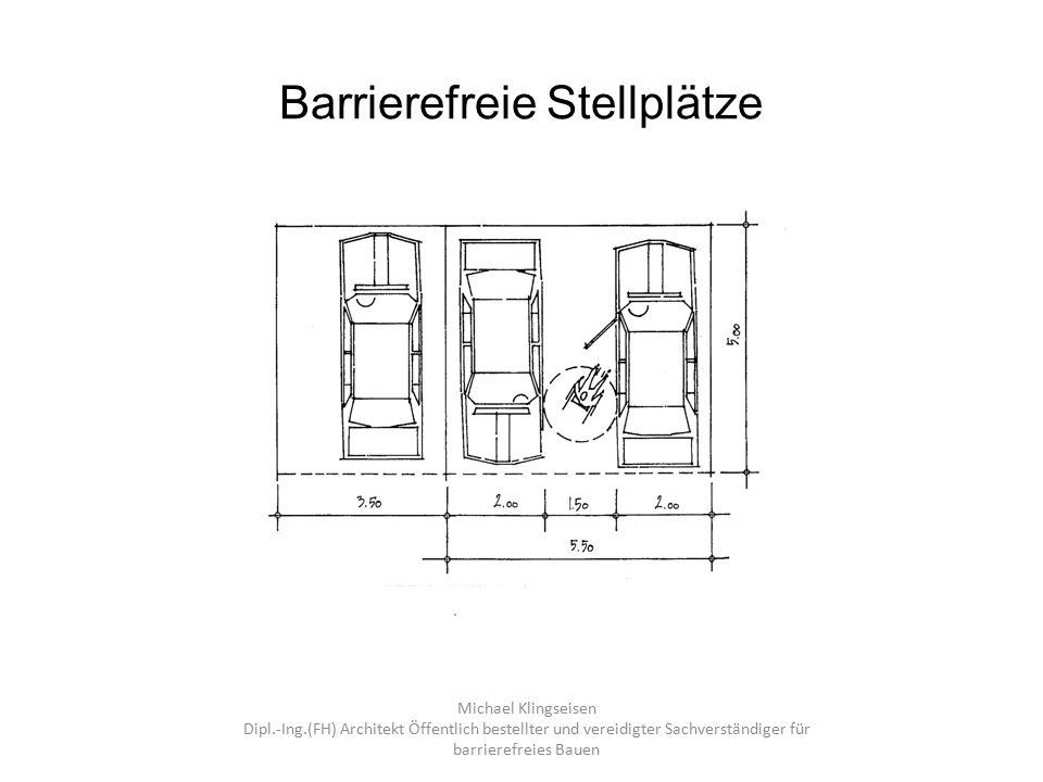 Barrierefreie Stellplätze 18040-1: Wird zusätzlich ein Stellplatz für einen Kleinbus vorgesehen, muss dieser mindestens 350 cm breit und mindestens 750 cm lang sein sowie eine nutzbare Mindesthöhe von 250 cm aufweisen.