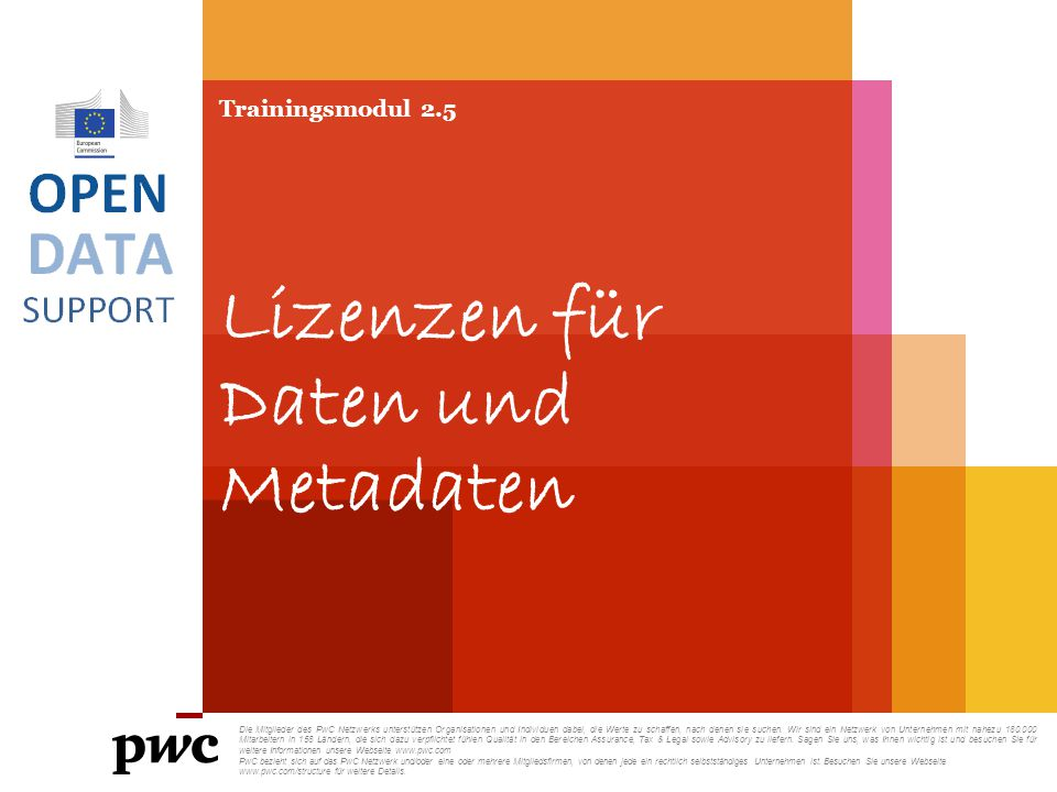 Trainingsmodul 2.5 Lizenzen für Daten und Metadaten Die Mitglieder des PwC Netzwerks unterstützen Organisationen und Individuen dabei, die Werte zu sc