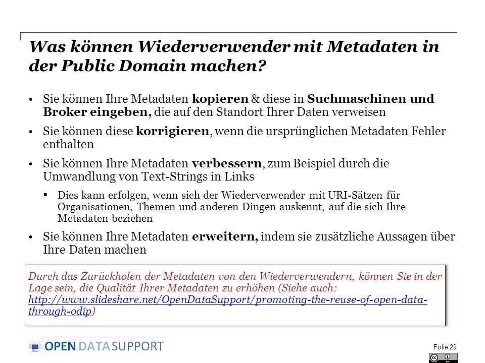 Was können Wiederverwender mit Metadaten in der Public Domain machen? Sie können Ihre Metadaten kopieren & diese in Suchmaschinen und Broker eingeben,