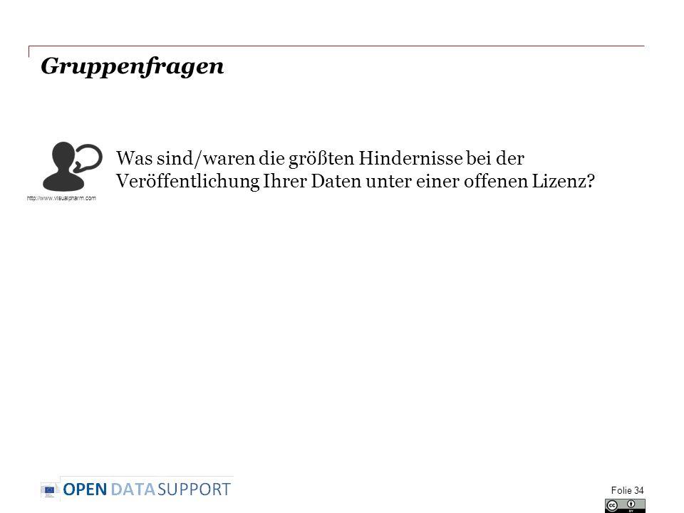 Gruppenfragen Was sind/waren die größten Hindernisse bei der Veröffentlichung Ihrer Daten unter einer offenen Lizenz? Folie 34 http://www.visualpharm.
