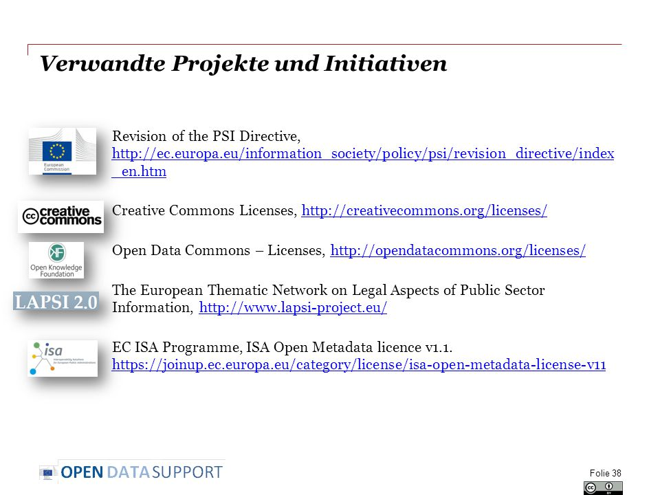 Verwandte Projekte und Initiativen Revision of the PSI Directive, http://ec.europa.eu/information_society/policy/psi/revision_directive/index _en.htm http://ec.europa.eu/information_society/policy/psi/revision_directive/index _en.htm Creative Commons Licenses, http://creativecommons.org/licenses/http://creativecommons.org/licenses/ Open Data Commons – Licenses, http://opendatacommons.org/licenses/http://opendatacommons.org/licenses/ The European Thematic Network on Legal Aspects of Public Sector Information, http://www.lapsi-project.eu/http://www.lapsi-project.eu/ EC ISA Programme, ISA Open Metadata licence v1.1.