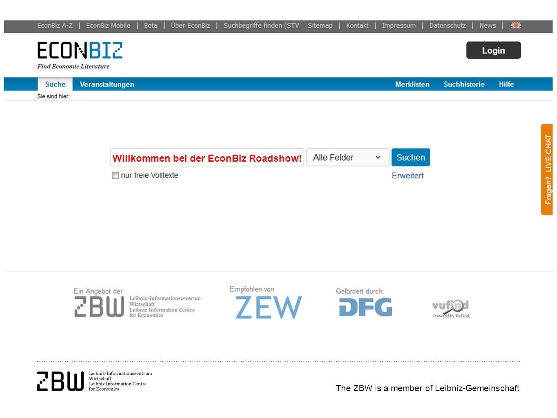 The ZBW is a member of Leibniz-Gemeinschaft Willkommen bei der EconBiz Roadshow!