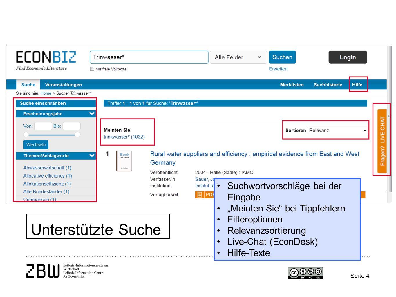 """Seite 4 Unterstützte Suche Suchwortvorschläge bei der Eingabe """"Meinten Sie bei Tippfehlern Filteroptionen Relevanzsortierung Live-Chat (EconDesk) Hilfe-Texte"""